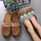 居家拖鞋女春季亞草編織涼拖鞋女士亞麻拖鞋家居室內防滑厚底地板藤 藍嵐