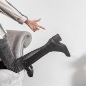 真皮不過膝長靴小香風高跟騎士靴子女爆款2020年新款高筒長筒中筒