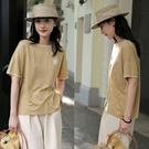 細支精梳棉麻素色短袖T恤上衣寬鬆/設計家 S210423