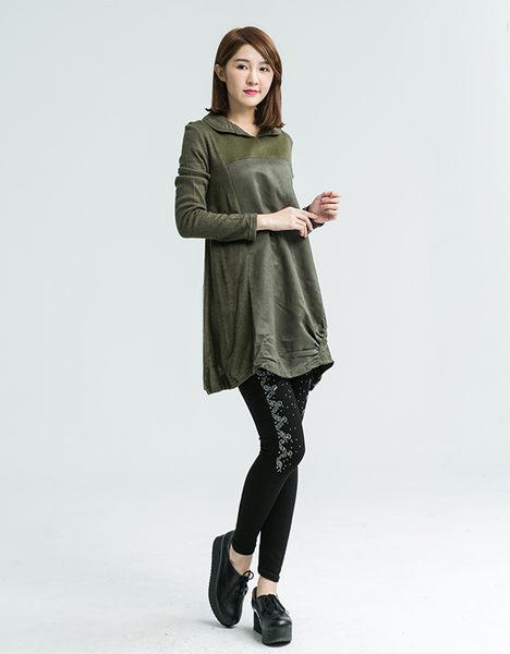 簡約皮絨拼接長版上衣(綠色)M-3L【Katie中大】