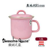 奧地利 RIESS 粉色 14cm/1.0L 單耳含蓋 琺瑯鍋 牛奶鍋 #0269-6