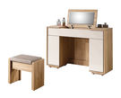 【森可家居】多莉絲3.3尺掀式鏡台(含椅) 7ZX122-5 化妝台 梳妝台 木紋質感 無印風 北歐風 白色