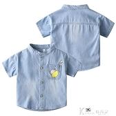 牛仔襯衫男童短袖2021新款韓版帥氣童裝男孩夏裝寶寶上衣兒童襯衣