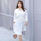 中大尺碼~大氣口袋雪紡襯衫裙外套(XL~4XL)