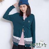 betty's貝蒂思 小貝羊刺繡拼接針織罩衫(藍色)