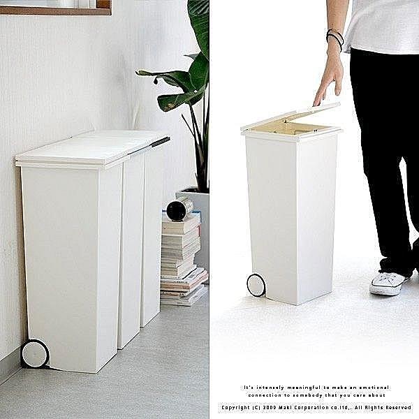 日本製*日本知名品牌 kcud 正方形 時尚 垃圾桶 附輪