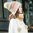 帽子女針織帽 毛線冬季甜美可愛針織秋冬季街頭加厚護耳帽圍巾脖套帽毛線帽【多多鞋包店】yp94