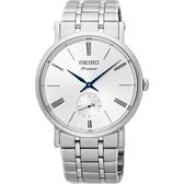 SEIKO 精工 Premier 羅馬時尚小秒針手錶-銀/38mm 6G28-00X0S(SRK033J1)
