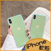 薄荷綠愛心iPhone6s Plus手機殼iPhone8保護套i7 Plus軟殼XS Max藍光殼XR殼 透明殼 包邊亮面