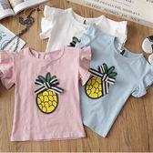 女童夏裝休閒菠蘿蝴蝶結花邊打底衫韓範短袖T恤PLL3596【男人與流行】