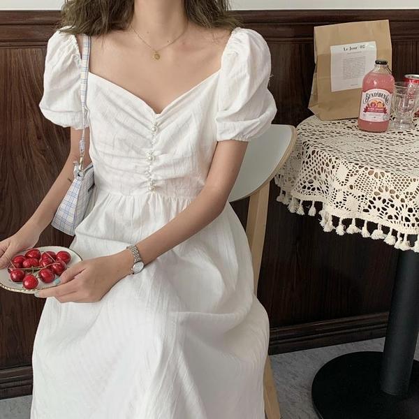 大尺碼女裝大碼胖mm遮肚子顯瘦連衣裙2020新款法式泡泡袖長款收腰氣質仙女裙