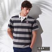 【JEEP】假兩件式條紋短袖POLO衫 (灰色)