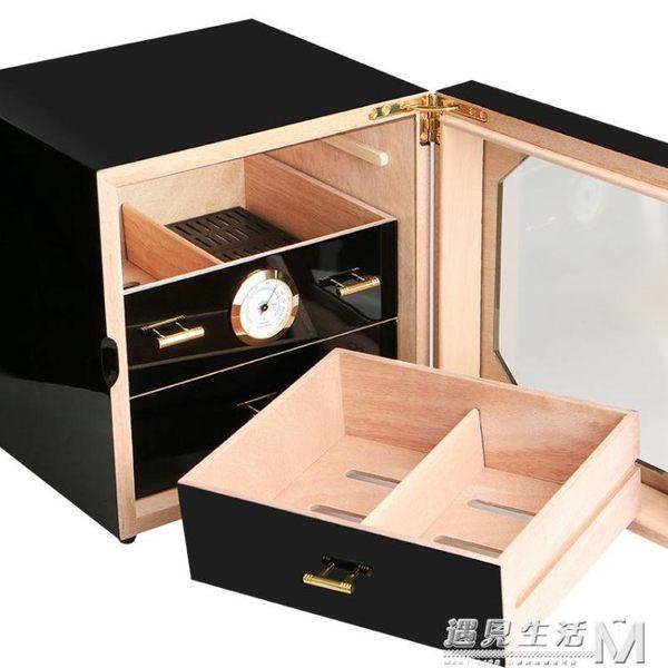 cohiba雪茄盒保濕盒多層透明雪鬆木保濕箱保濕櫃鋼琴烤漆雪茄煙盒 WD 遇見生活