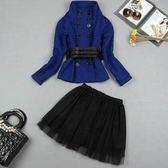 兩件式套裝含上衣+裙子-明星款迷人亮麗女裙裝9f33[巴黎精品]