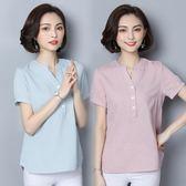 亞麻t恤女裝夏裝夏天2018新款棉麻短袖襯衫寬鬆遮肚子顯瘦上衣潮 森活雜貨