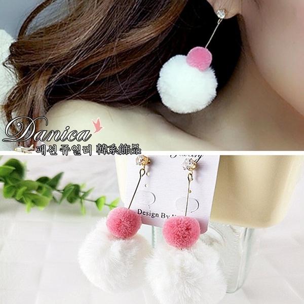 耳環 現貨 韓國 氣質甜美 浪漫 閃亮 皇冠 雙色雪人 毛球球 吊飾耳環 S91620 Danica 韓系飾品
