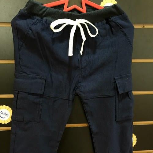 ☆棒棒糖童裝☆秋冬男童鬆緊腰素面左右口袋工作長褲  5-15  卡其;藍