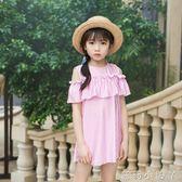 女童泳衣韓版連身可愛圓領條紋裙童中童游裙式泳裝 蘿莉小腳ㄚ