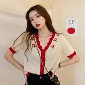 2020新款小香風冰絲短袖針織衫女夏季法式V領上衣薄款外搭開衫 草莓妞妞