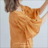 棉麻衫 日系氣質女孩喇叭袖棉麻衫  三色