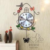 (百貨週年慶)復古家用創意個性時鐘錶掛鐘客廳田園搖擺小鳥時尚裝飾靜音石英鐘xw