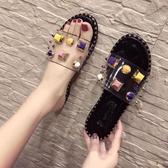 涼拖鞋女外穿2020新款夏季時尚沙灘鞋百搭一字拖鞋透明網紅拖鞋 降價兩天