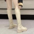 長靴秋季新款網紅中跟長筒靴女瘦腿百搭不過膝高筒女靴粗跟騎士靴 【快速出貨】