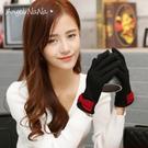 羊絨手套。韓版蝴蝶結薄款羊毛全指分指女手套 (SHA0010) AngelNaNa