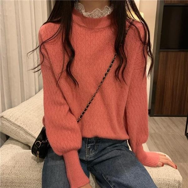 限時特銷 冬新款韓版蕾絲半高領百搭針織衫慵懶風長袖毛衣女寬松外穿