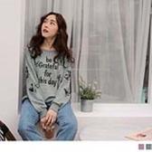 《AB11838-》花朵印花英文刺繡衛衣上衣 OB嚴選