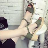韓版厚底高跟粗跟一字帶女鞋
