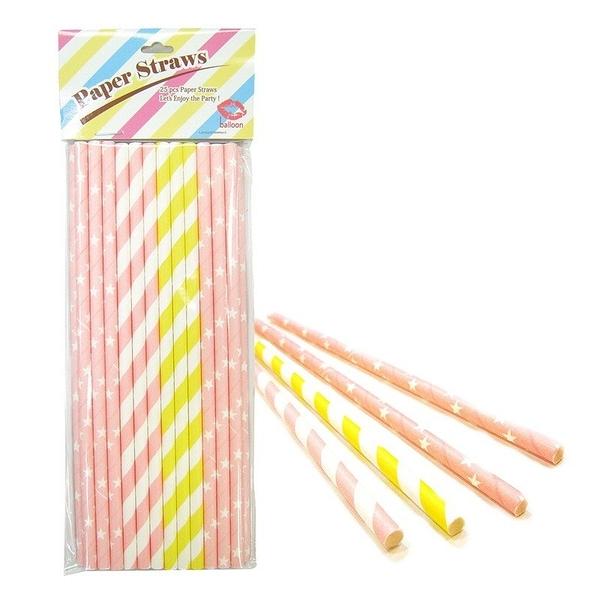 環保餐具-ballon粉色系紙吸管(6mm)25入日本進口-玄衣美舖