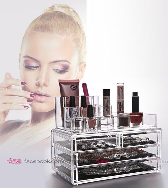 衣美姬♥日風優雅透明收納盒 首飾盒 彩裝透明盒 化妝品桌面收納盒