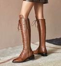 真皮中筒靴過膝靴高跟女靴 機車靴馬丁靴軍靴短靴修腿顯瘦2色100t70【Brag Na義式精品】