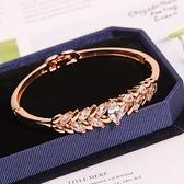 手鐲 韓版水晶鋯石麥穗手鐲簡約個性甜美手鍊女時尚玫瑰金手鐲手環首飾