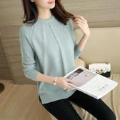 毛衣女韓版寬鬆圓領長袖加厚針織打底衫