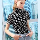 高領網紗內搭衫撞色短袖T恤緊身上衣(S-3XL可選)/設計家 AL310180
