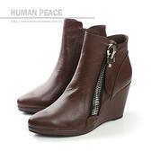 HUMAN PEACE 皮革 舒適 拉鍊 好穿脫 增高 靴子 戶外休閒鞋 咖啡 女鞋 no312