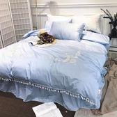 夏季簡約刺繡公主風床裙式純棉1.8米雙人床上用品四件套 YX2437『小美日記』