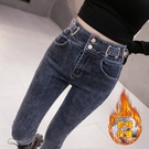 高腰加絨牛仔褲女秋冬2021新款百搭修身顯瘦緊身鉛筆小腳褲ins潮 8號店