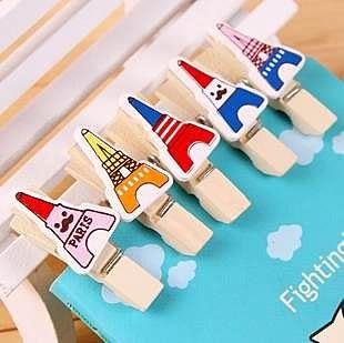 【發現。好貨】歐美風格巴黎鐵塔 艾菲爾鐵塔原木小木夾 創意相片夾 12枚/套 附麻繩