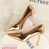 跟鞋 尖頭細跟銀色高跟鞋淺口槍色貓跟裸色單鞋金色伴娘婚鞋