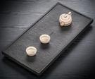 四合 烏金石茶盤天然整塊石頭排水茶台石材家用茶海簡約功夫茶具 NMS台北日光