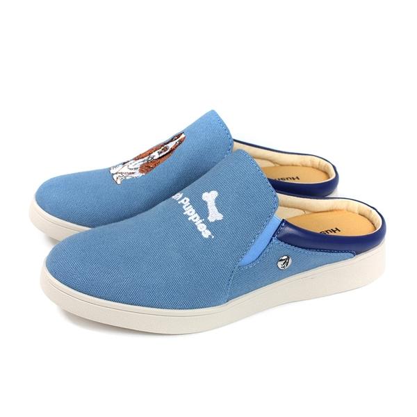 Hush Puppies 休閒鞋 懶人鞋 前包後空 藍色 帆布 女鞋 6202W144113 no195