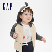 Gap男女嬰兒 趣味插肩袖鯊魚造型連帽衫 442648-深青灰色