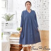 【Tiara Tiara】百貨同步aw V型小翻領碎花長袖洋裝(藍/灰/紅)