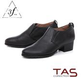 TAS復古素面擦色粗跟踝靴-迷人黑