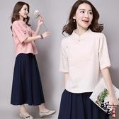 棉麻上衣小開衫復古民族中國風寬鬆五分袖盤扣茶服t恤衫女 週年慶降價