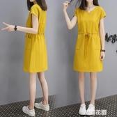 女裝中裙2019夏季款矮個子中長款連身裙小個子短袖休閒裙子『艾麗花園』