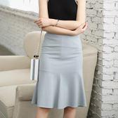 窄裙 包臀裙魚尾裙高腰黑色a字裙中長一步裙半裙